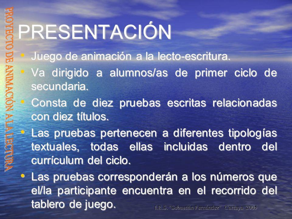 I.E.S. Sebastián Fernández Cartaya 2005 OBJETIVOS Desarrollar en el alumnado el placer de leer.