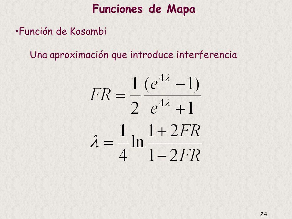 23 Función de mapa Modelo de Poisson (Haldane 1919) 50 40 30 20 10 FR observada (%) =1 =2 =3 =4 50100150200 Unidades de mapa reales (cM) = /2 x 100 Nú