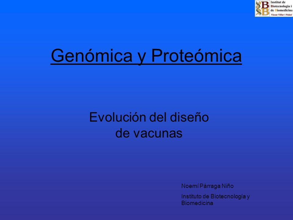 Genómica y Proteómica Evolución del diseño de vacunas Noemí Párraga Niño Instituto de Biotecnología y Biomedicina