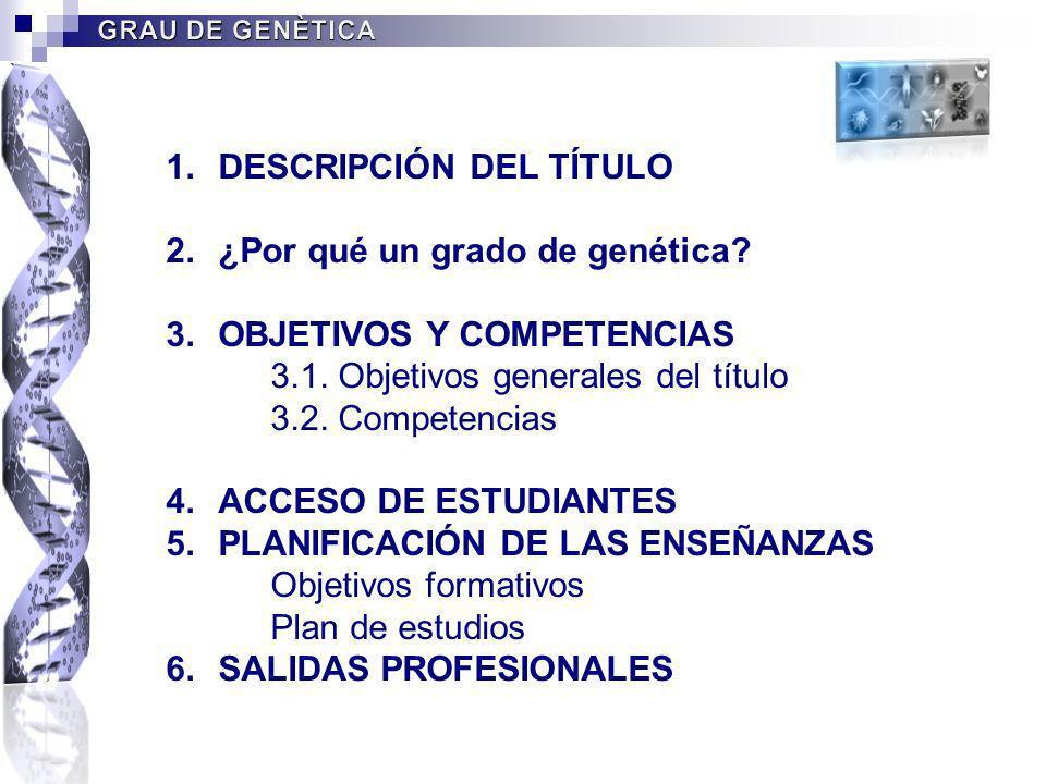 1.DESCRIPCIÓN DEL TÍTULO 2.¿Por qué un grado de genética? 3.OBJETIVOS Y COMPETENCIAS 3.1. Objetivos generales del título 3.2. Competencias 4.ACCESO DE