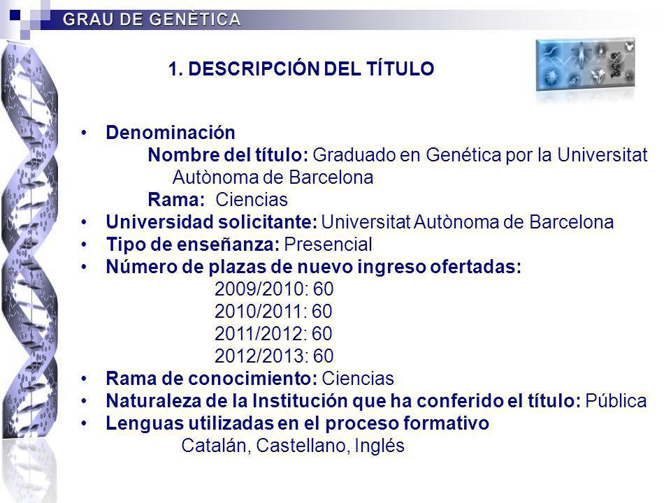 Denominación Nombre del título: Graduado en Genética por la Universitat Autònoma de Barcelona Rama: Ciencias Universidad solicitante: Universitat Autò