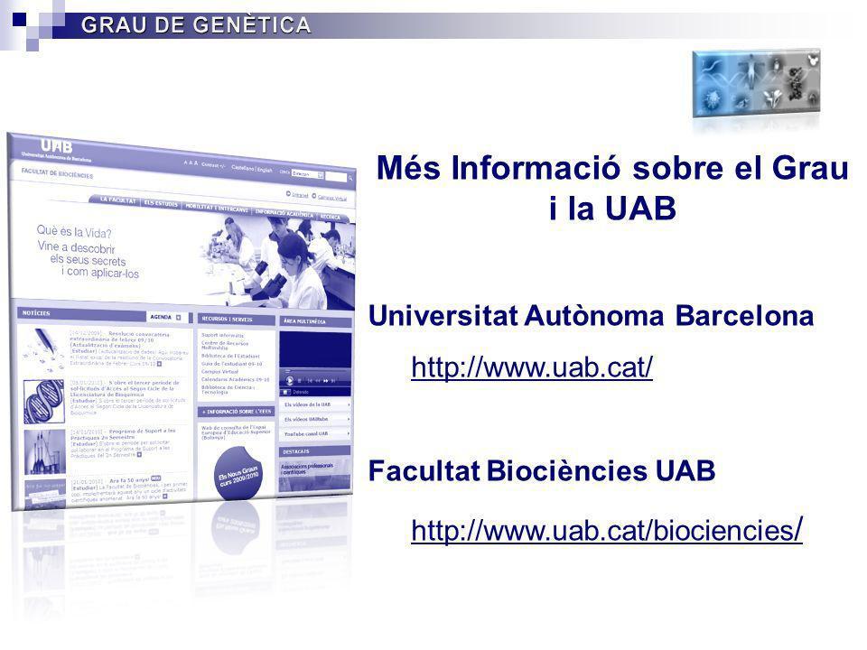 Més Informació sobre el Grau i la UAB Universitat Autònoma Barcelona http://www.uab.cat/ Facultat Biociències UAB http://www.uab.cat/biociencies /