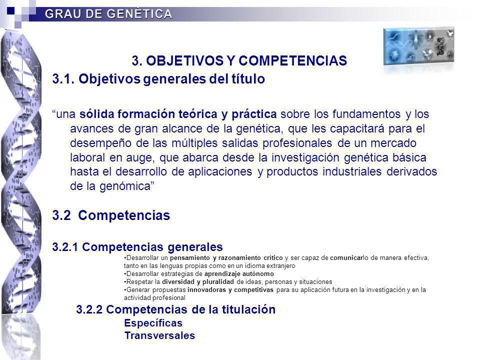 3.1. Objetivos generales del título una sólida formación teórica y práctica sobre los fundamentos y los avances de gran alcance de la genética, que le