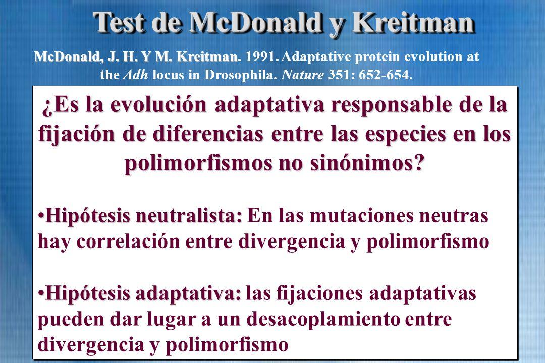 Test de McDonald y Kreitman ¿Es la evolución adaptativa responsable de la fijación de diferencias entre las especies en los polimorfismos no sinónimos