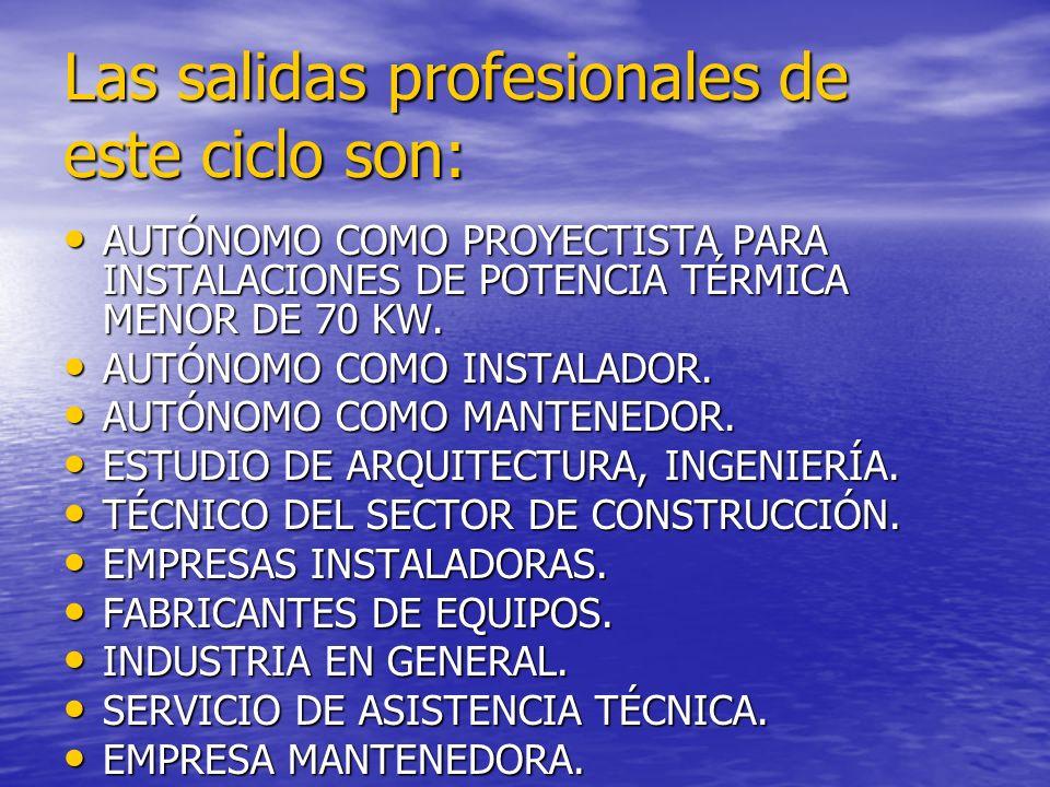 Las salidas profesionales de este ciclo son: AUTÓNOMO COMO PROYECTISTA PARA INSTALACIONES DE POTENCIA TÉRMICA MENOR DE 70 KW. AUTÓNOMO COMO PROYECTIST