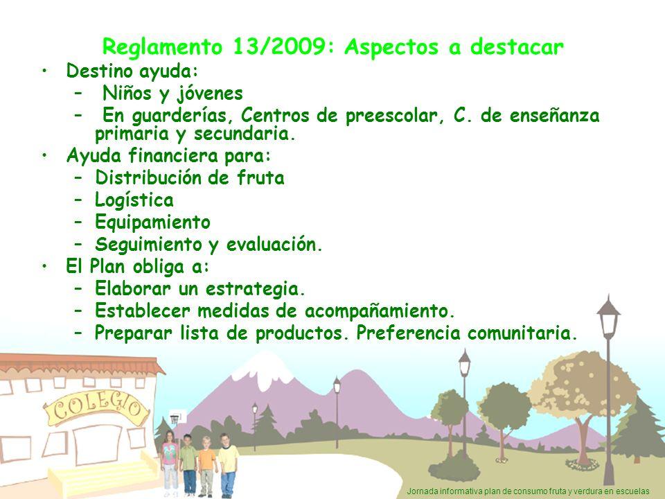 Jornada informativa plan de consumo fruta y verdura en escuelas Reglamento 13/2009: Aspectos a destacar Destino ayuda: – Niños y jóvenes – En guarderí