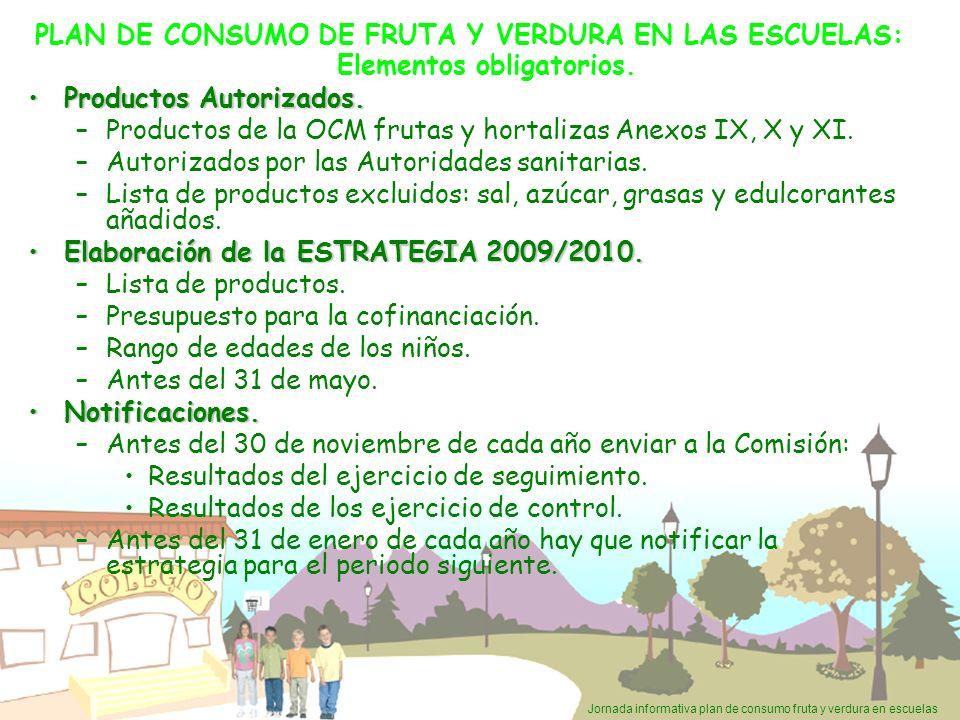 Jornada informativa plan de consumo fruta y verdura en escuelas PLAN DE CONSUMO DE FRUTA Y VERDURA EN LAS ESCUELAS: Elementos obligatorios. Productos