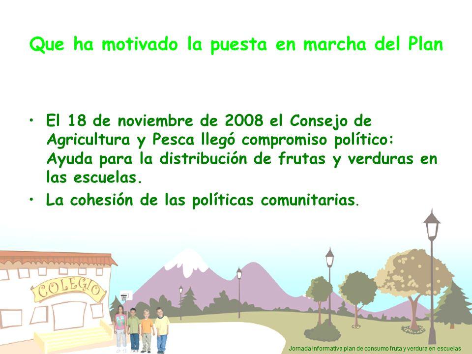 Jornada informativa plan de consumo fruta y verdura en escuelas Que ha motivado la puesta en marcha del Plan El 18 de noviembre de 2008 el Consejo de