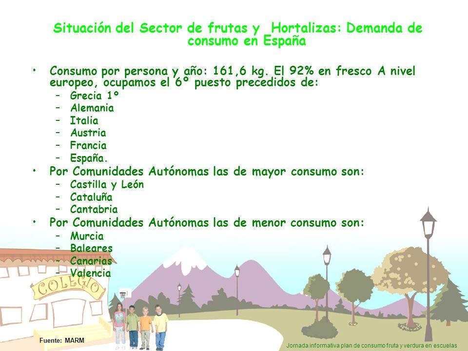 Jornada informativa plan de consumo fruta y verdura en escuelas CONSUMO POR PERSONA AL AÑO (TAM JUN 2008) REPARTO DEL CONSUMO DOMÉSTICO Y EXTRADOMÉSTICO – TAM JUN 2008 Situación del Sector de frutas y Hortalizas: Demanda de consumo en España.