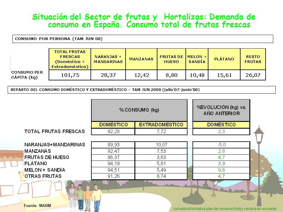 Jornada informativa plan de consumo fruta y verdura en escuelas Situación del Sector de frutas y Hortalizas: Demanda de consumo en España. Consumo tot