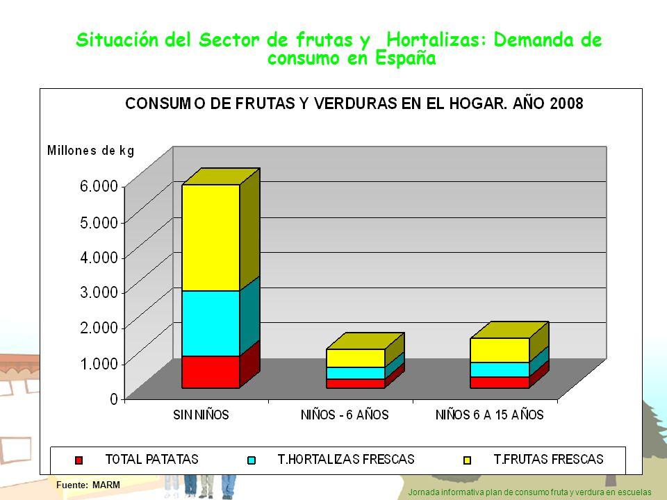 Jornada informativa plan de consumo fruta y verdura en escuelas Situación del Sector de frutas y Hortalizas: Demanda de consumo en España Fuente: MARM