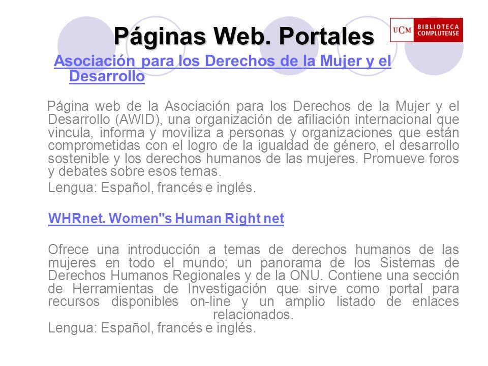 Páginas Web. Portales Asociación para los Derechos de la Mujer y el Desarrollo Página web de la Asociación para los Derechos de la Mujer y el Desarrol