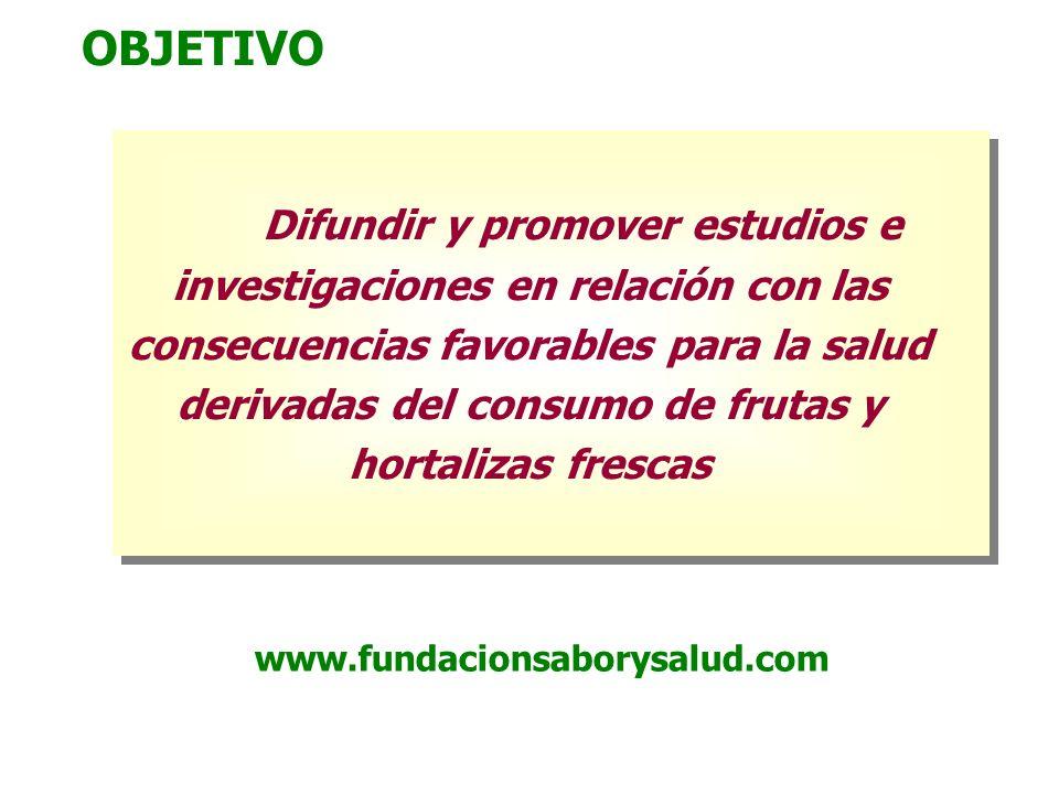 OBJETIVO Difundir y promover estudios e investigaciones en relación con las consecuencias favorables para la salud derivadas del consumo de frutas y h