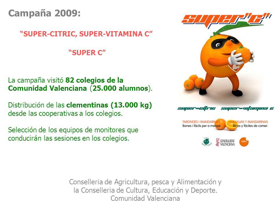 Campaña 2009: SUPER-CITRIC, SUPER-VITAMINA C SUPER C La campaña visitó 82 colegios de la Comunidad Valenciana (25.000 alumnos). Distribución de las cl