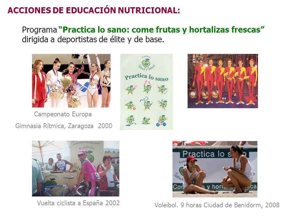 ACCIONES DE EDUCACIÓN NUTRICIONAL: Programa Practica lo sano: come frutas y hortalizas frescas dirigida a deportistas de élite y de base. Vuelta cicli