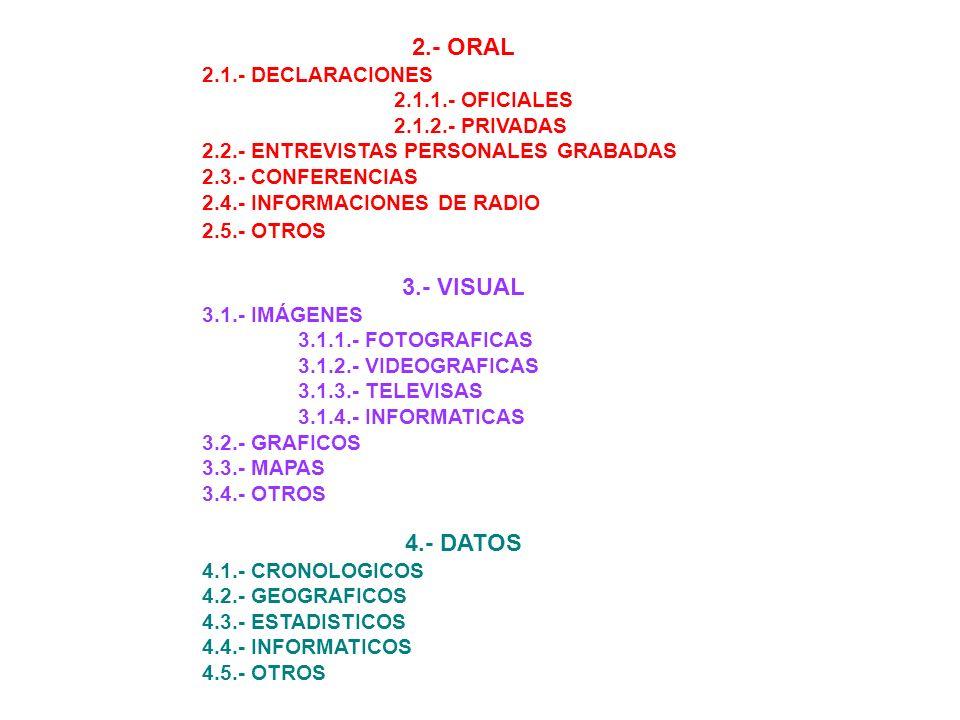 1.- ESCRITA: 1.1.- TEXTOS DOCUMENTALES 1.2.- LIBROS 1.2.1.- OBRAS GENERALES 1.2.2.- OBRAS ESPECIFICAS 1.3.- ARTICULOS DE REVISTAS 1.3.1.- GENERALES 1.