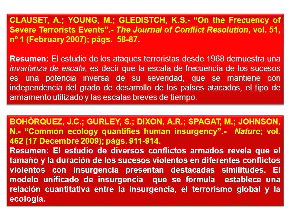 INVESTIGACIONES CUANTITAVAS RECIENTES SOBRE LOS CONFLICTOS ARMADOS Y EL TERRORISMO FEARON, J.D.; LAITIN, D.D.- Ethnicity, Insurgency and civil War.- A