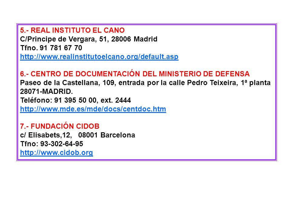 CENTROS DE INFORMACIÓN Y DOCUMENTACIÓN 1.- BIBLIOTECA NACIONAL Paseo de Recoletos 20 Madrid 28071 Teléfono 91-580-78-00 http://www.bne.es 2.- BIBLIOTE