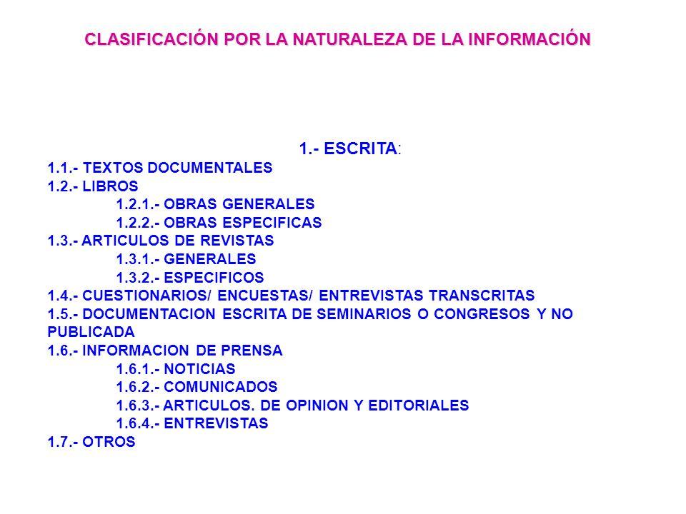 1.- ESCRITA: 1.1.- TEXTOS DOCUMENTALES 1.2.- LIBROS 1.2.1.- OBRAS GENERALES 1.2.2.- OBRAS ESPECIFICAS 1.3.- ARTICULOS DE REVISTAS 1.3.1.- GENERALES 1.3.2.- ESPECIFICOS 1.4.- CUESTIONARIOS/ ENCUESTAS/ ENTREVISTAS TRANSCRITAS 1.5.- DOCUMENTACION ESCRITA DE SEMINARIOS O CONGRESOS Y NO PUBLICADA 1.6.- INFORMACION DE PRENSA 1.6.1.- NOTICIAS 1.6.2.- COMUNICADOS 1.6.3.- ARTICULOS.