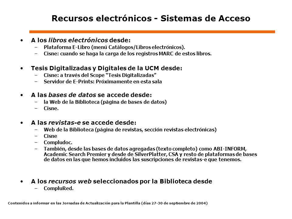 Recursos electrónicos - Sistemas de Acceso A los libros electrónicos desde: –Plataforma E-Libro (menú Catálogos/Libros electrónicos). –Cisne: cuando s