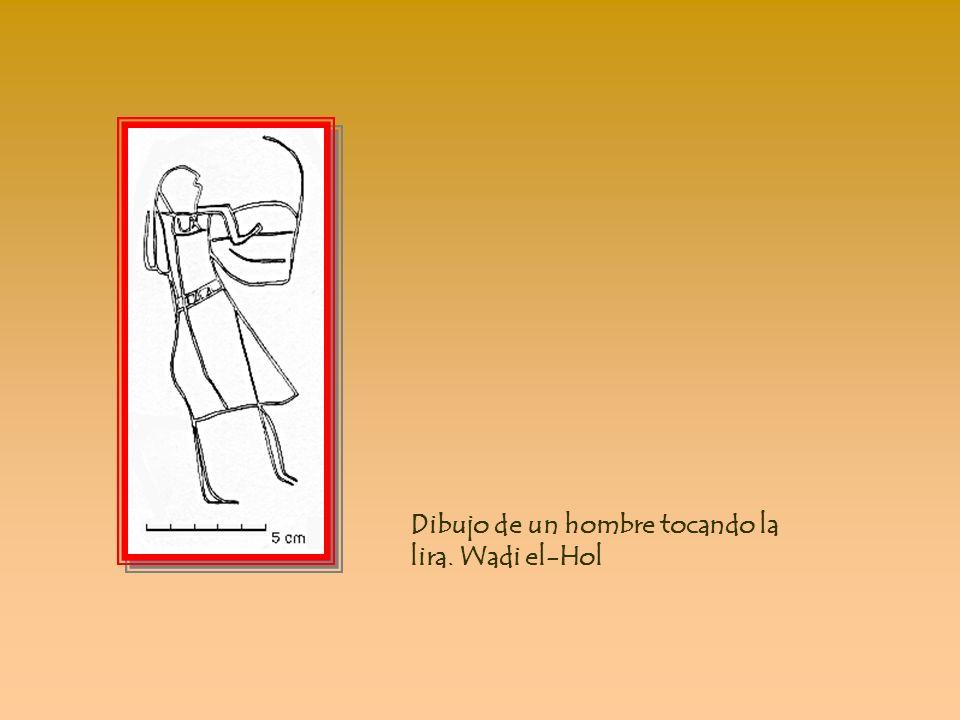 Imagen de una figura del rey en posición hierática, en Wadi el-Hol