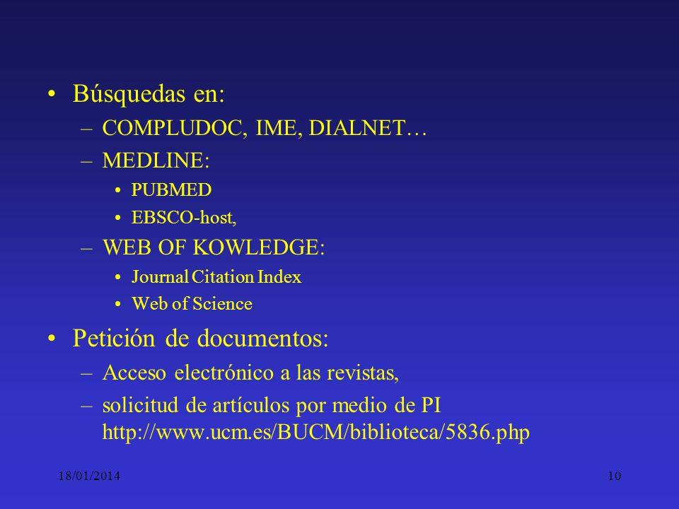 10 Búsquedas en: –COMPLUDOC, IME, DIALNET… –MEDLINE: PUBMED EBSCO-host, –WEB OF KOWLEDGE: Journal Citation Index Web of Science Petición de documentos