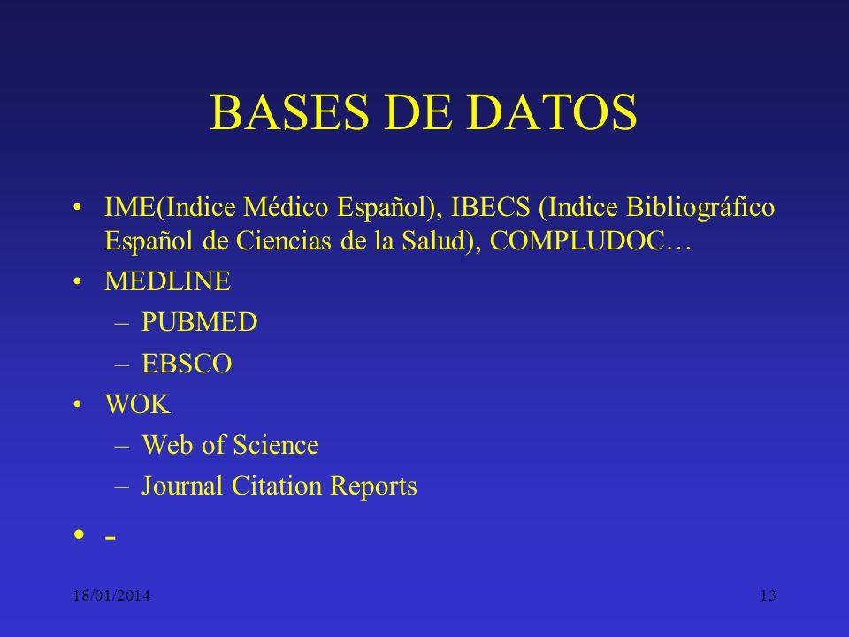 18/01/201413 BASES DE DATOS IME(Indice Médico Español), IBECS (Indice Bibliográfico Español de Ciencias de la Salud), COMPLUDOC… MEDLINE –PUBMED –EBSC