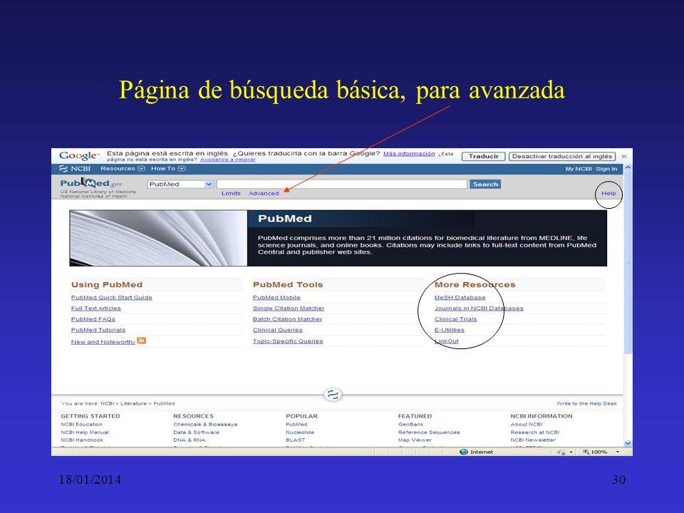 18/01/201430 Página de búsqueda básica, para avanzada