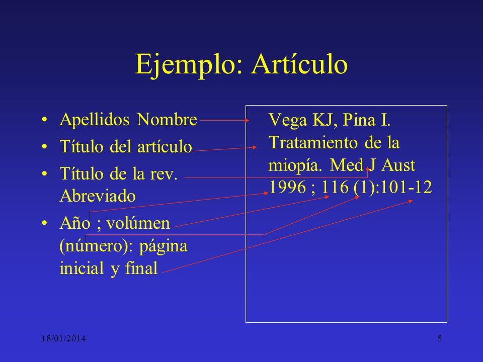 18/01/20145 Ejemplo: Artículo Apellidos Nombre Título del artículo Título de la rev. Abreviado Año ; volúmen (número): página inicial y final Vega KJ,