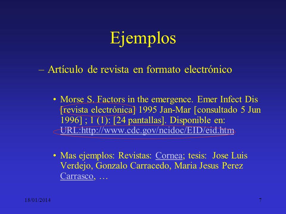 18/01/20147 Ejemplos –Artículo de revista en formato electrónico Morse S. Factors in the emergence. Emer Infect Dis [revista electrónica] 1995 Jan-Mar