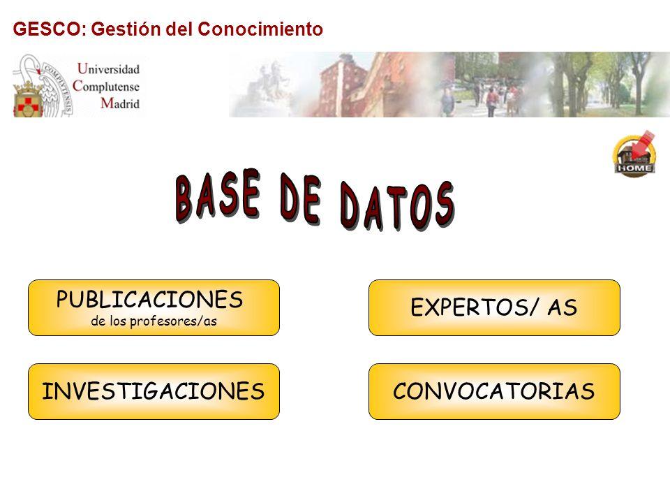 GESCO: Gestión del Conocimiento INVESTIGACIONES PUBLICACIONES de los profesores/as CONVOCATORIAS EXPERTOS/ AS