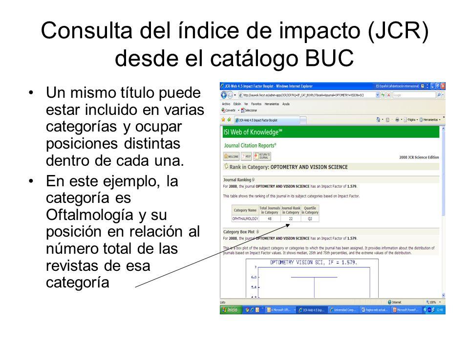 Consulta del índice de impacto (JCR) desde el catálogo BUC Un mismo título puede estar incluido en varias categorías y ocupar posiciones distintas dentro de cada una.