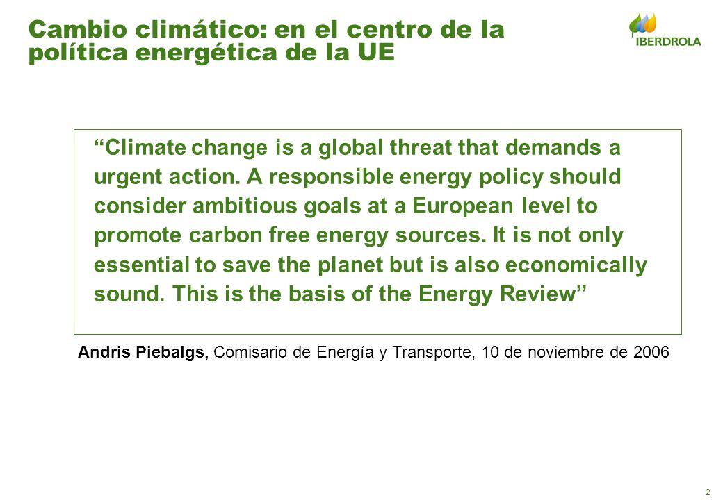 2 Cambio climático: en el centro de la política energética de la UE Climate change is a global threat that demands a urgent action. A responsible ener