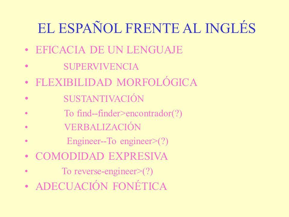 EL ESPAÑOL FRENTE AL INGLÉS EFICACIA DE UN LENGUAJE SUPERVIVENCIA FLEXIBILIDAD MORFOLÓGICA SUSTANTIVACIÓN To find--finder>encontrador(?) VERBALIZACIÓN