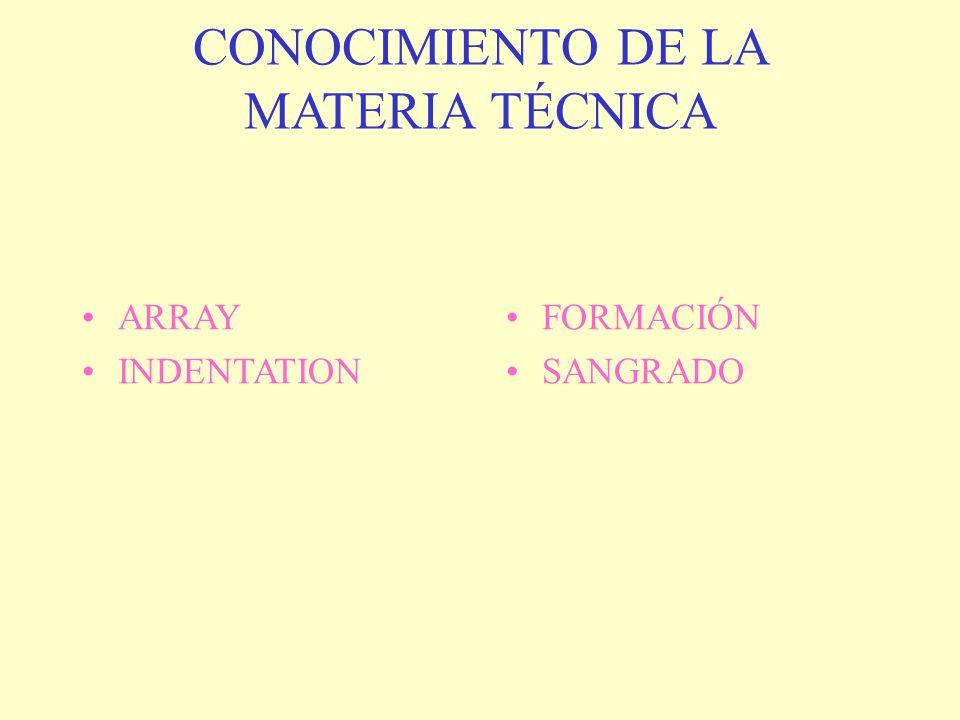 CONOCIMIENTO DE LA MATERIA TÉCNICA ARRAY INDENTATION FORMACIÓN SANGRADO