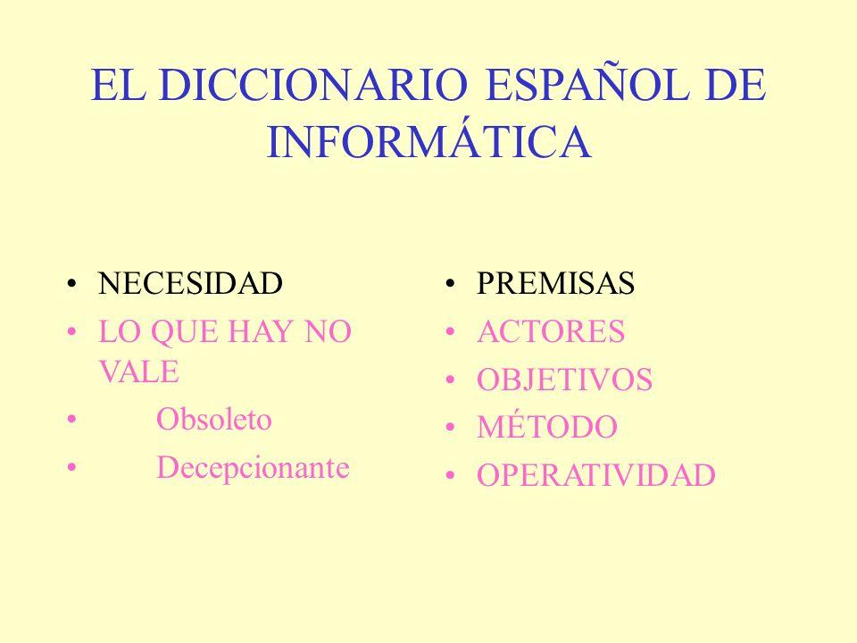 EL DICCIONARIO ESPAÑOL DE INFORMÁTICA NECESIDAD LO QUE HAY NO VALE Obsoleto Decepcionante PREMISAS ACTORES OBJETIVOS MÉTODO OPERATIVIDAD