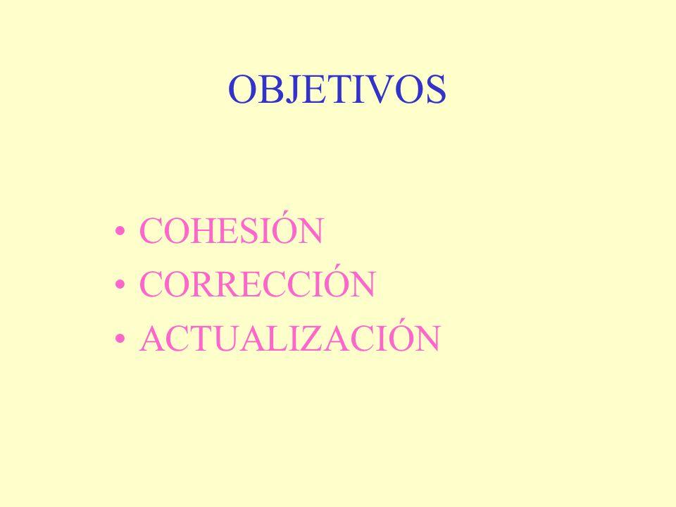 OBJETIVOS COHESIÓN CORRECCIÓN ACTUALIZACIÓN