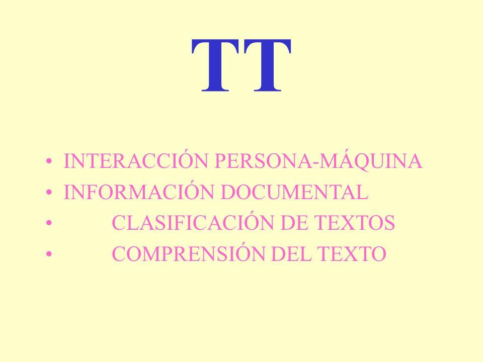 TT INTERACCIÓN PERSONA-MÁQUINA INFORMACIÓN DOCUMENTAL CLASIFICACIÓN DE TEXTOS COMPRENSIÓN DEL TEXTO