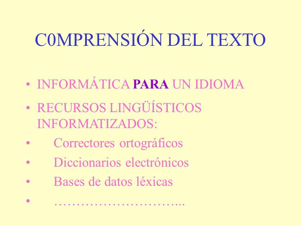 C0MPRENSIÓN DEL TEXTO INFORMÁTICA PARA UN IDIOMA RECURSOS LINGÜÍSTICOS INFORMATIZADOS: Correctores ortográficos Diccionarios electrónicos Bases de dat