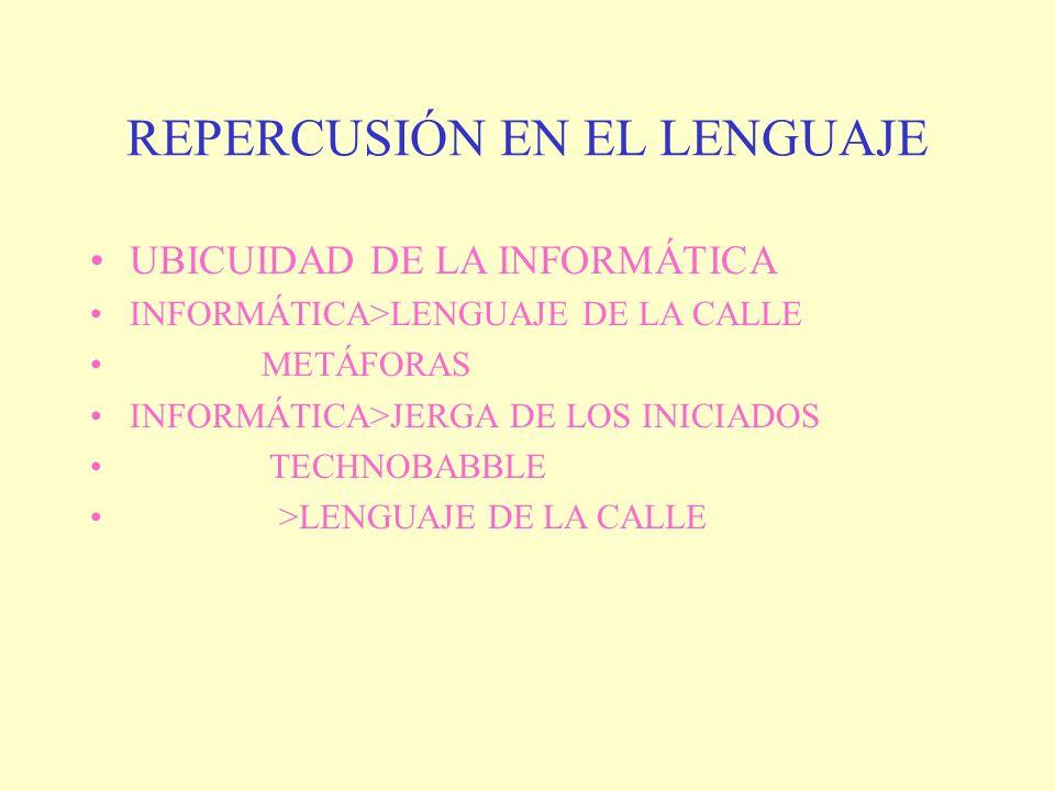 REPERCUSIÓN EN EL LENGUAJE UBICUIDAD DE LA INFORMÁTICA INFORMÁTICA>LENGUAJE DE LA CALLE METÁFORAS INFORMÁTICA>JERGA DE LOS INICIADOS TECHNOBABBLE >LEN