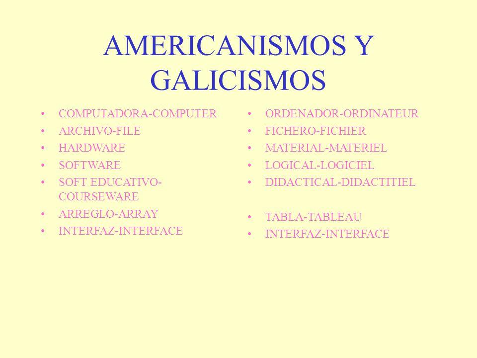 AMERICANISMOS Y GALICISMOS COMPUTADORA-COMPUTER ARCHIVO-FILE HARDWARE SOFTWARE SOFT EDUCATIVO- COURSEWARE ARREGLO-ARRAY INTERFAZ-INTERFACE ORDENADOR-O