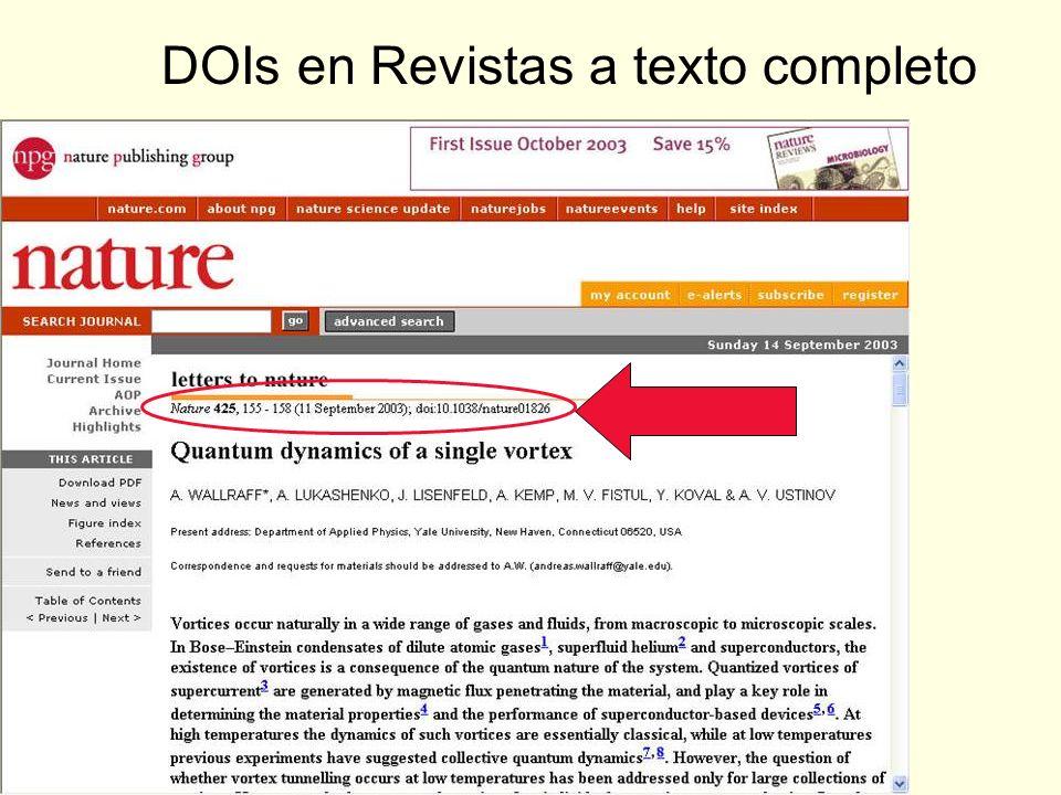 DOIs en Revistas a texto completo