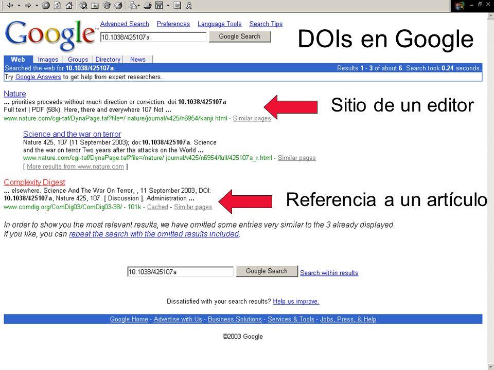 DOIs en Google Referencia a un artículo Sitio de un editor