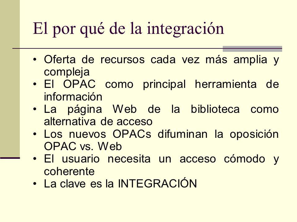 El por qué de la integración Oferta de recursos cada vez más amplia y compleja El OPAC como principal herramienta de información La página Web de la biblioteca como alternativa de acceso Los nuevos OPACs difuminan la oposición OPAC vs.
