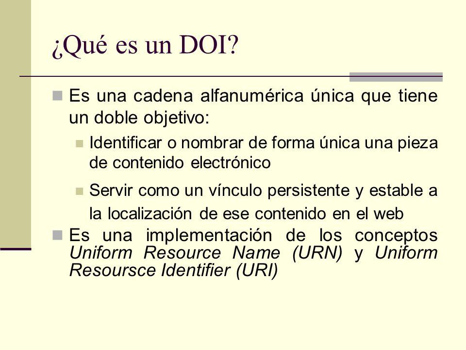 ¿Qué es un DOI? Es una cadena alfanumérica única que tiene un doble objetivo: Identificar o nombrar de forma única una pieza de contenido electrónico