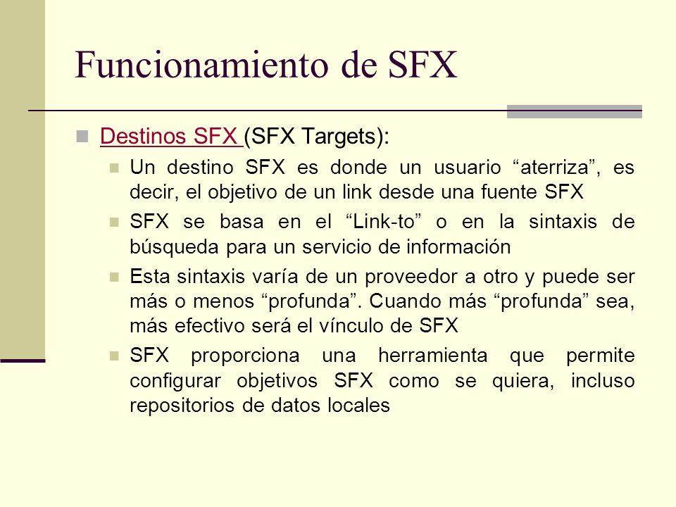 Funcionamiento de SFX Destinos SFX (SFX Targets): Destinos SFX Un destino SFX es donde un usuario aterriza, es decir, el objetivo de un link desde una fuente SFX SFX se basa en el Link-to o en la sintaxis de búsqueda para un servicio de información Esta sintaxis varía de un proveedor a otro y puede ser más o menos profunda.