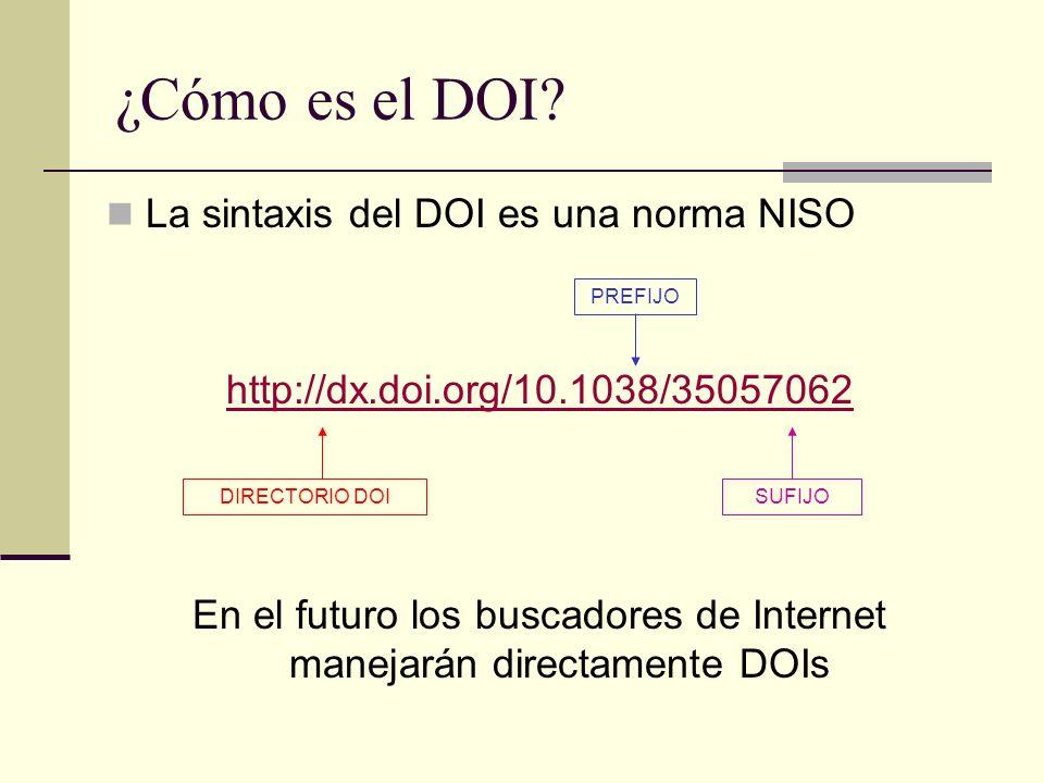 ¿Cómo es el DOI? La sintaxis del DOI es una norma NISO http://dx.doi.org/10.1038/35057062 En el futuro los buscadores de Internet manejarán directamen