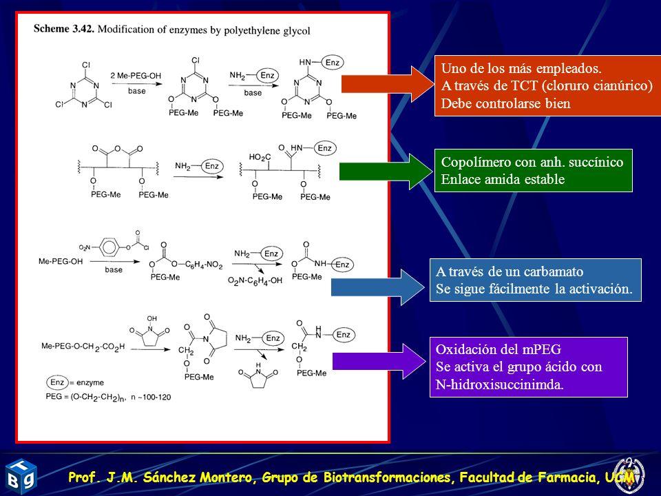Uno de los más empleados. A través de TCT (cloruro cianúrico) Debe controlarse bien Copolímero con anh. succínico Enlace amida estable A través de un
