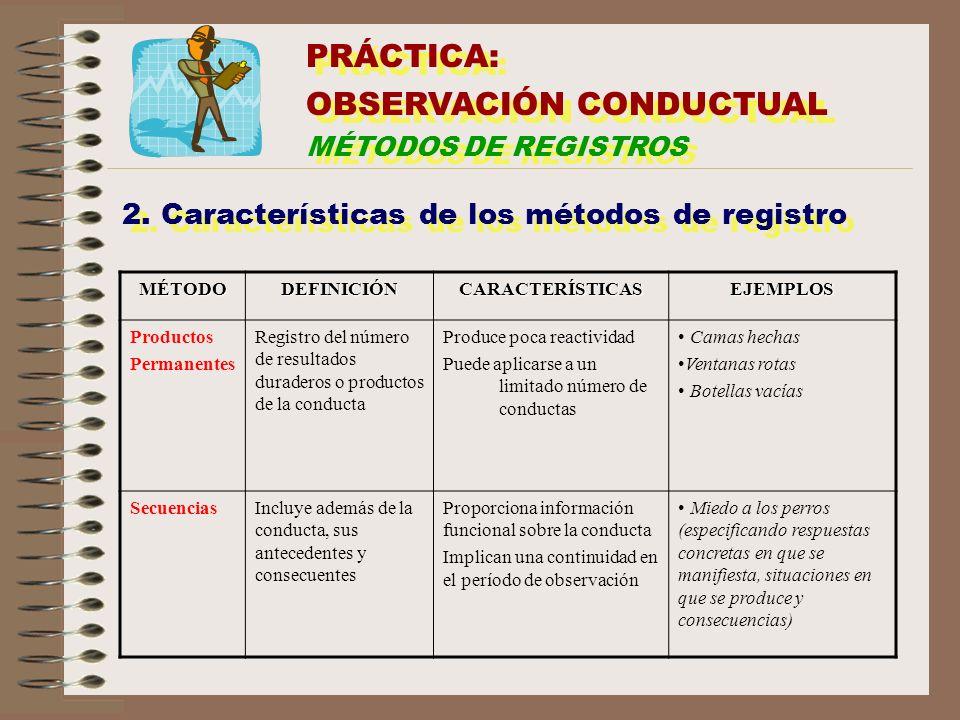 2. Características de los métodos de registro MÉTODODEFINICIÓNCARACTERÍSTICASEJEMPLOS Productos Permanentes Registro del número de resultados duradero