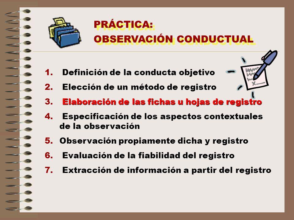 PRÁCTICA: OBSERVACIÓN CONDUCTUAL PRÁCTICA: OBSERVACIÓN CONDUCTUAL 1. Definición de la conducta objetivo 2. Elección de un método de registro 3. Elabor